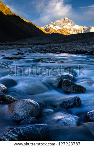 Mt. Everest at Sunset - stock photo