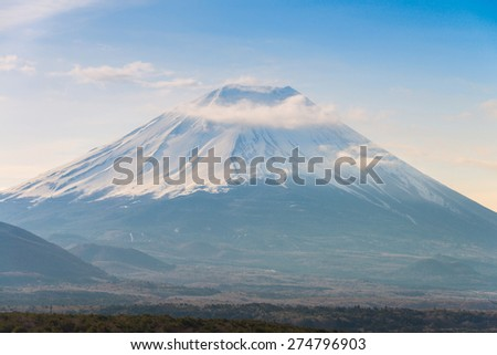 MT Fuji and snow capped in spring, at lake Motosuko. - stock photo