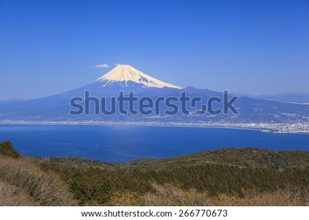 Mt. Fuji and Suruga bay from Darumayama plateau, Izu Peninsula, Japan - stock photo
