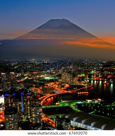 Mt Fuji and Yokohama city - stock photo