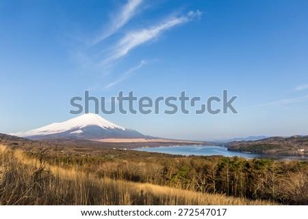 Mt Fuji at lake Yamanakako - stock photo
