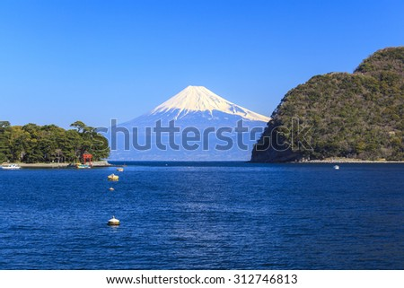 Mt. Fuji view from Heda port, Shizuoka, Japan - stock photo