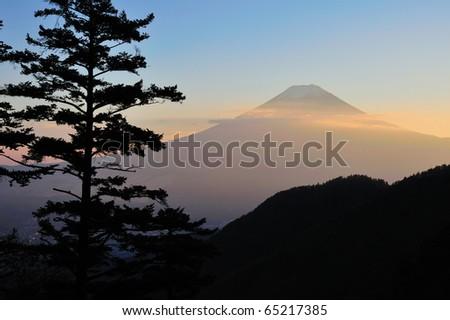 Mt. Fuji view from mountains around Fuji five lake. - stock photo