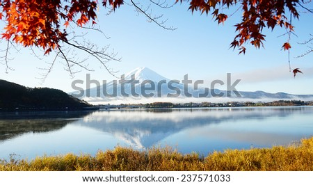 Mt. Fuji with fall colors in japan. - stock photo