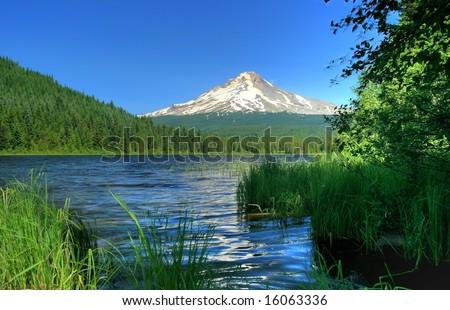 Mt Hood and Trillium Lake - stock photo