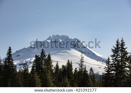 Mt Hood, Oregon Daytime Snowy Landscape on a Sunny Clear Day - stock photo