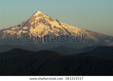 Mt. Hood view from Larch Mount before sunset. USA Pacific Northwest, Oregon. - stock photo