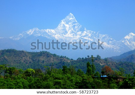 Mt. Machapuchare, Nepal - stock photo