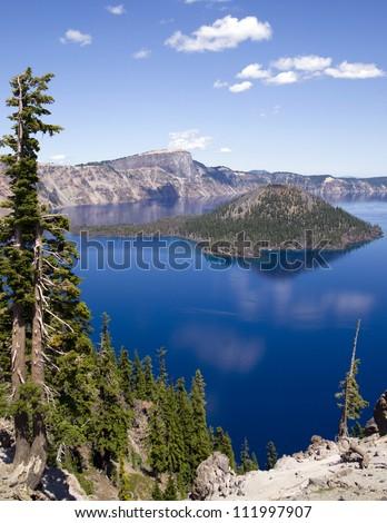 Mt Mazama Wizard Island Crater Lake Oregon United States, North America - stock photo
