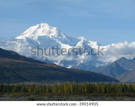 Mt McKinley Alaska in the fall - stock photo