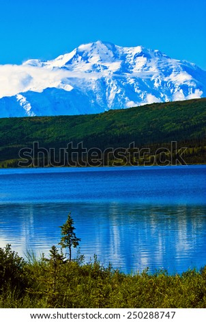 Mt. McKinley from wonder lake - stock photo
