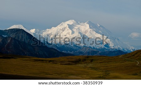 Mt. McKinley Panorama with Tundra - stock photo
