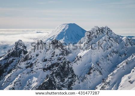Mt Ngauruhoe in Tongariro National Park in New Zealand  - stock photo