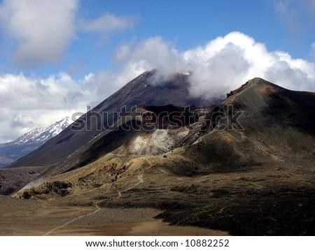 Mt. Ngauruhoe - Mt. Ruapehu - Red Crater - Tongariro - stock photo