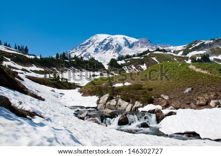Mt. Rainier scenic landscape with cascades in early July - stock photo