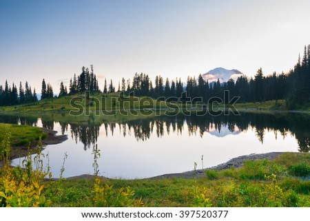 Mt.Rainier with a tranquil lake and wildflower in Mt.Rainer National Park, Washington - stock photo
