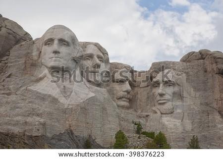 Mt Rushmore monument located in South Dakota. - stock photo