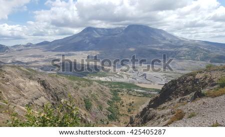 Mt. Saint Helens shot from Johnston Ridge Observatory. - stock photo