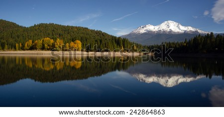 Mt Shasta Reflection Mountain Lake Modest Bridge California Recreation Landscape - stock photo