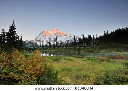 Mt. Shuksan and heather meadows - stock photo