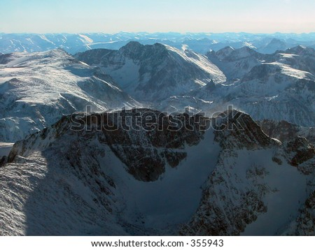 Mt Wood in the foreground. Wood is Montana's 2nd highest peak. Granite Peak, which is the highest is in the background. - stock photo