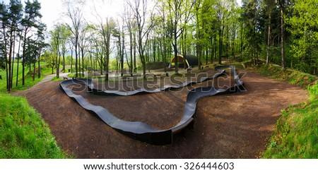 MTB ramp for training purposes - stock photo