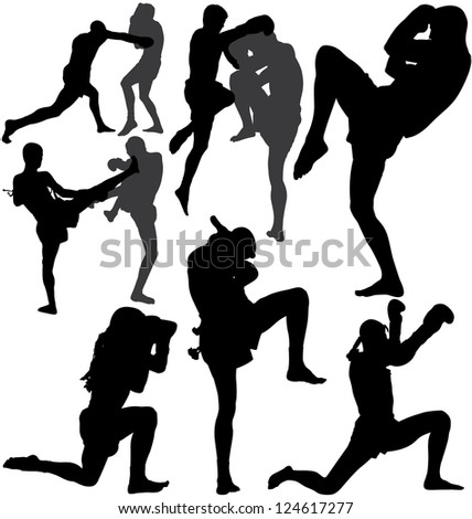 Muay Thai (Thai Boxing) fight and Wai Kru Ram Muay (traditional dance before fight) silhouettes. Raster version. - stock photo