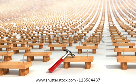 much boards with nails and hammer. billets. semimanufactures - stock photo