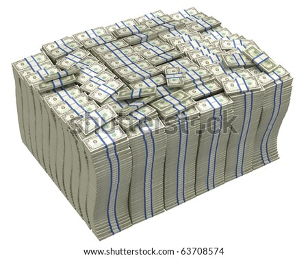 Much money. Huge pile of US dollars isolated - stock photo
