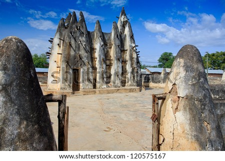 Mud and stick mosque, in Nakori, Ghana - stock photo
