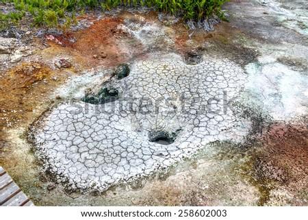 Mud cauldron in the volcanic caldera Uzon - Valley of Geysers, Kamchatka, Russia - stock photo