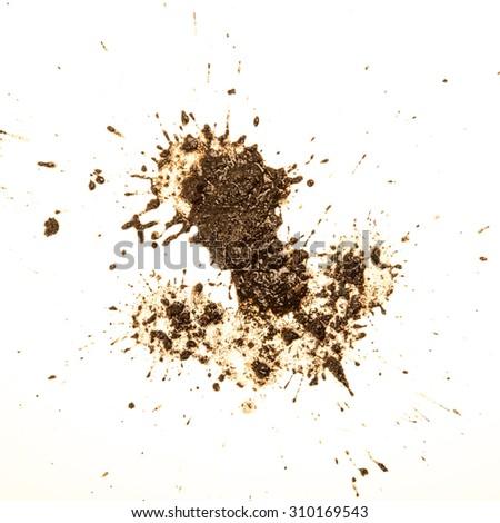 Mud splat pattern isolated on a white background. - stock photo