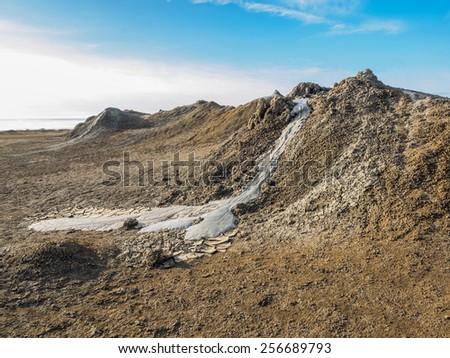 Mud Volcano at gobustan in Azerbaijan - stock photo
