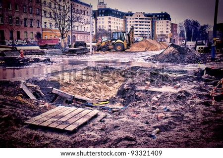 Muddy construction site - stock photo