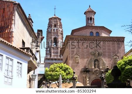 Mudejar bell tower Spanish village in Barcelona, Spain - stock photo