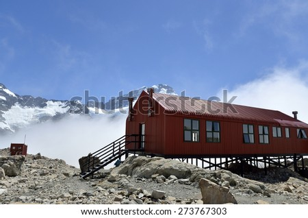 Mueller Hut in Aoraki National park, New Zealand. - stock photo