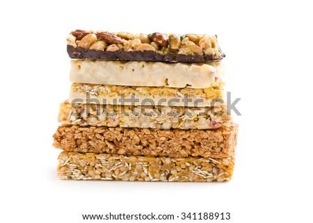 muesli bars on white background - stock photo
