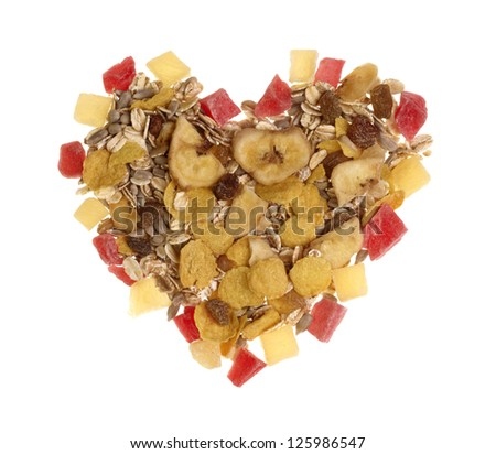 Muesli heart isolation on white - stock photo