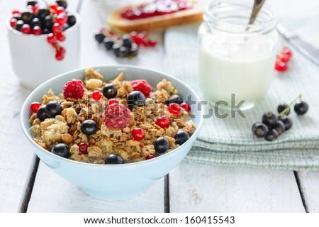 Muesli with berries and milk - stock photo