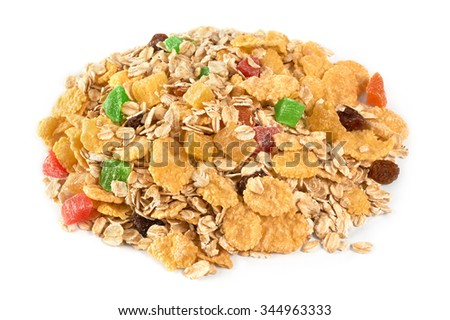Muesli with dried fruit and candied fruit on a white background. Isolated. - stock photo
