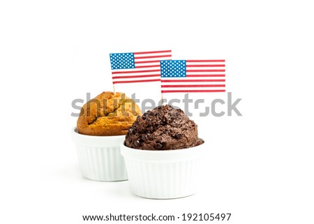 Muffin cakes with american flag - 4th of july concept - isolated on white - stock photo