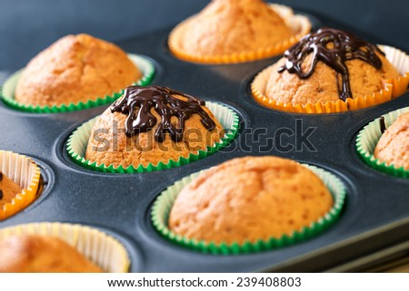 Muffin with chocolate glaze - stock photo