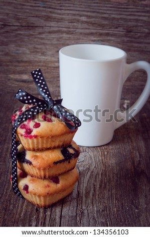muffins with bilberry - stock photo