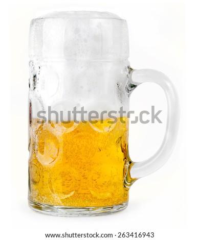 Mug fresh beer - stock photo