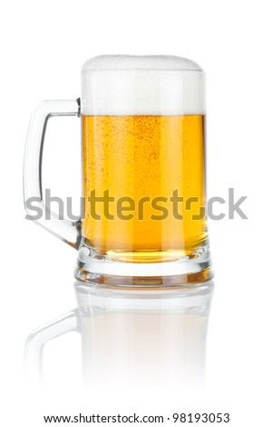Mug fresh beer isolated over a white background - stock photo