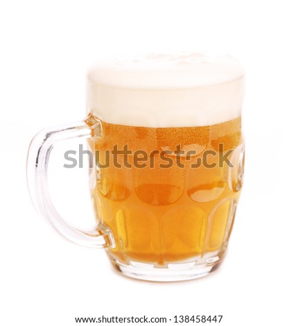 Mug fresh beer with cap of foam isolated - stock photo