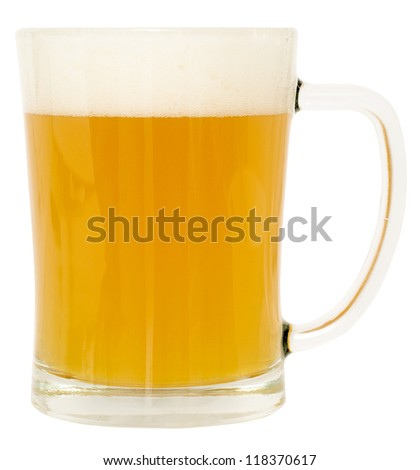 mug fresh beer with cap of foam isolated on white - stock photo