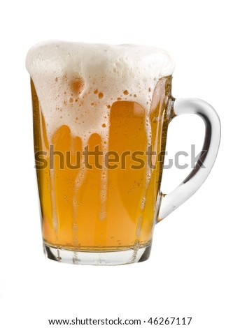 mug full beer isolated on the white background - stock photo