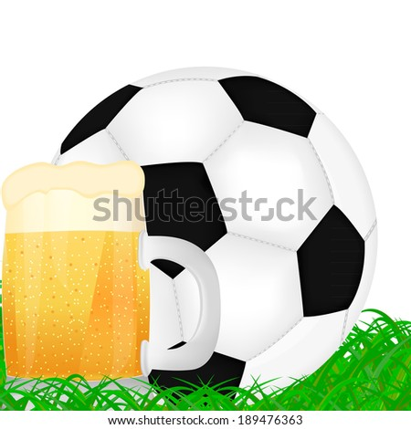 mug of beer and a soccer ball on green grass background - stock photo