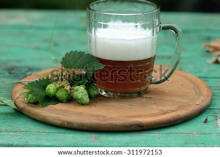 mug of beer hops ears - stock photo